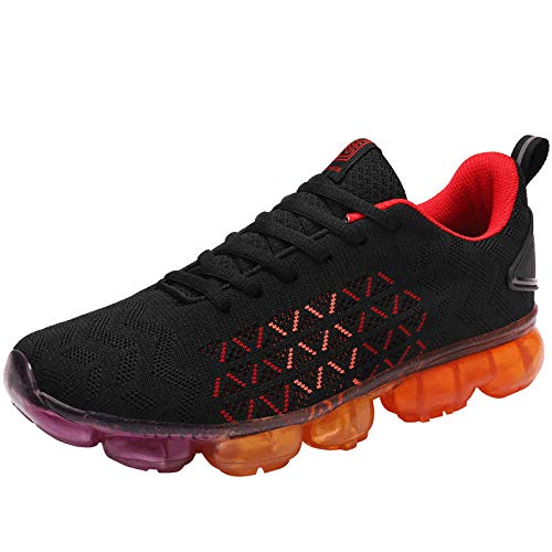 QIMITE Herren Laufschuhe,Frühling und Herbst Men's Casual Schuhe mit Schnürung atmungsaktive Sneakers Herren Orange Sneakers Zapatillas Hombre @ 39