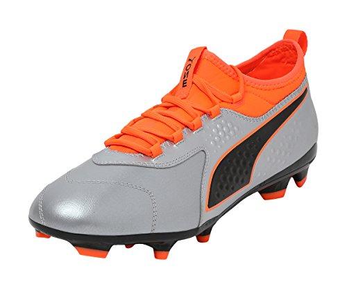 Puma ONE 3 Leather FG Fußballschuhe, Silber Silver-Shocking Orange Black 01, 42 EU