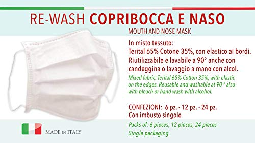 24 Mouth and nose Mask 65% Terital 35% Cotton Made in Italy