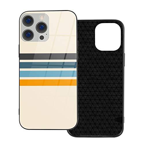 Funda protectora para teléfono con diseño de rayas retro vintage y parte trasera de cristal templado y parachoques de TPU suave compatible con iPhone 12/iPhone 12 Pro