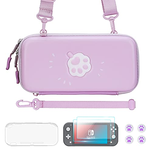 JINGDU Carrying Case for Nintendo Switch Lite, Cute Accessories Kit Compatible with Switch Lite, Include Screen Protector, Thumb Grip Caps, Protective Case, Straps, 3D Cat Paw Storage Bag, Purple