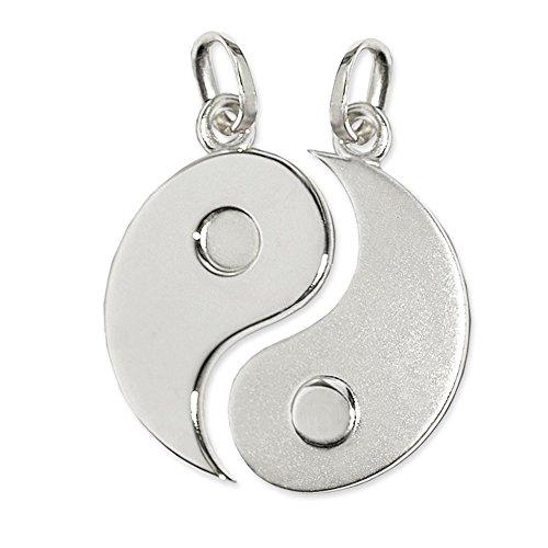 Clever joyas de plata de doble acabado Yin Yang 20 mm derecha mate, izquierda brillante de plata 925