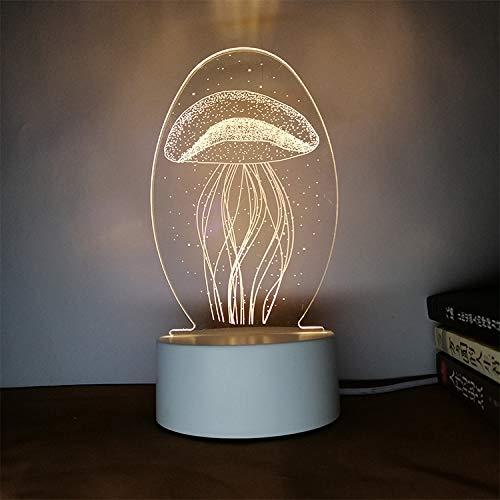 Kreatives Nachtlicht 3D dreidimensionale Beschriftung DIY Persönlichkeit Design Tischlampe Geschenk praktische sinnvolle Qualle DREI Farben 3W