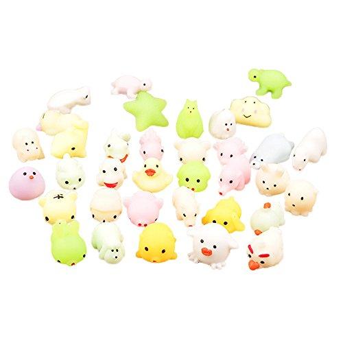 HSD Fidget Toy Mochi Squishy Set Luminious Kawaii Squishies de silicona suave, juguete antiestrés para cumpleaños infantiles (5 unidades)