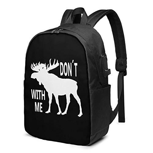 XCNGG Don 't Moose with Me Logo Business Laptop School Bookbag Mochila de Viaje con Puerto de Carga USB y Puerto para Auriculares de 17 Pulgadas
