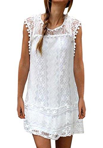 AIYUE Abito Donna Vestiti Estiti Senza Maniche Pizza Bianco Palla Bordado Allentato Vestito Corte Dress Femminile per Festa Ballo Partito(XL)