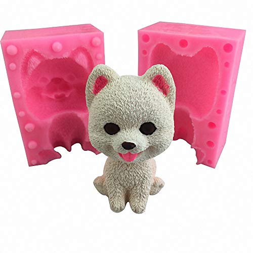MoldFun 3D Pomeranian Dog Silicone Mold, Large Cute Puppy Chocolate Candy Fondant Mold for Cake Decorating Making Candle Soap Resin Plaster Crayon Wax Melt Mold