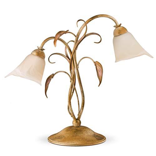 Helios Leuchten 403307 Florentiner Tischleuchte Tischlampe | Florale Lampe Leuchte | Schreibtischlampe Landhausstil | Nachttischlampe 2-flammig