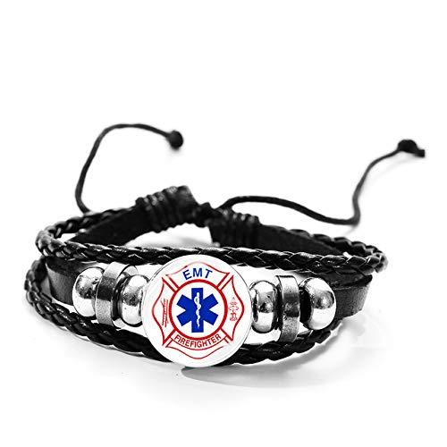 Inveroo Tema Médico Pulsera De Cuero Multicapa EMT Técnico De Emergencias Médicas Símbolo Pulsera De Cristal con Forma De Cúpula