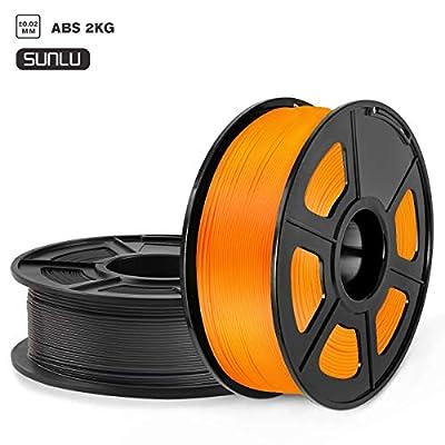 SUNLU ABS 3D Printer Filament, ABS Filament 1.75mm Dimensional Accuracy +/- 0.02 mm, 2 kg Spool, 1.75mm, ABS Black+Orange