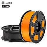 SUNLU Filamento ABS 1.75mm 2kg Impresora 3D Filamento, Precisión Dimensional +/- 0.02 mm, ABS Negro + naranja