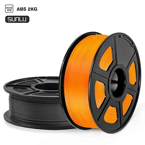 SUNLU ABS Filament 1.75mm, 3D Drucker Filament ABS 2kg 2 Spool Pack, Toleranz +/- 0,03mm ABS Filament Schwarz+Orange