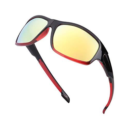 TJUTR Gafas de sol polarizadas deportivas para hombres y mujeres Ciclismo Correr Moda Espejo Lente Protección UV400 (Marco Rojo/Lente de Espejo Dorado)