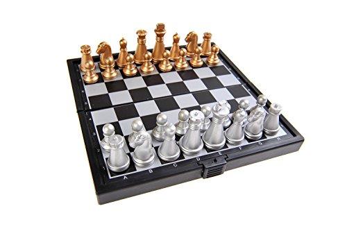 Quantum Abacus Magnetisches Brettspiel (Super Mini Reise-Edition): Schach - magnetische Spielsteine, Spielbrett zusammenklappbar, 12,8cm x 12,8cm x 1cm, Mod. SC3656-A (DE)