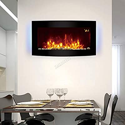 HEATSURE Wall Mounted Electric Fire | Curved Glass Screen Fireplace With 7 Colour LED Backlight | Fake Flame Fire Electronic Fireplace With Remote | 2kw EF831B