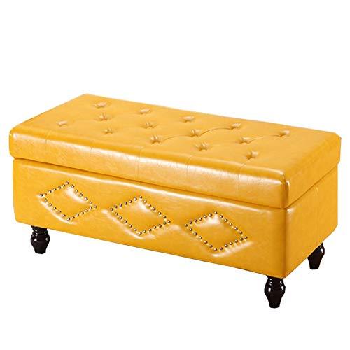 WHOJA Puff Almacenaje Plegable con Tapa abatible Taburete Rectangular para sofá Cuero de la PU Taburete casero para Cambiar Zapatos Dormitorio Sala de Estar 120x42x45cm Otomanos (Color : Yellow)