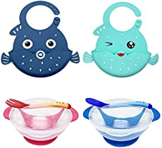 BeEcone Store Baby Feeding Set for Toddlers - Waterproof Silicone Bibs Baby Suction Bowls Set with Lids Spoon and Fork - Self Feeding Set Reduces Spills - Adjustable Bib Easily Wipe Clean