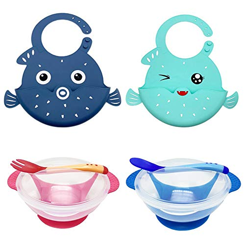 Bemagnificar Baby Feeding Set for Toddlers - Waterproof Silicone Bibs Baby Suction Bowls Set with Lids Spoon and Fork - Self Feeding Set Reduces Spills - Adjustable Bib Easily Wipe Clean