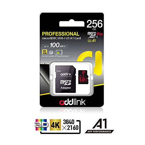 addlink 256GB Micro SD Card SDXC U3 V30 A1 Memory Card with Adapter with Read 100MB/s high Speed