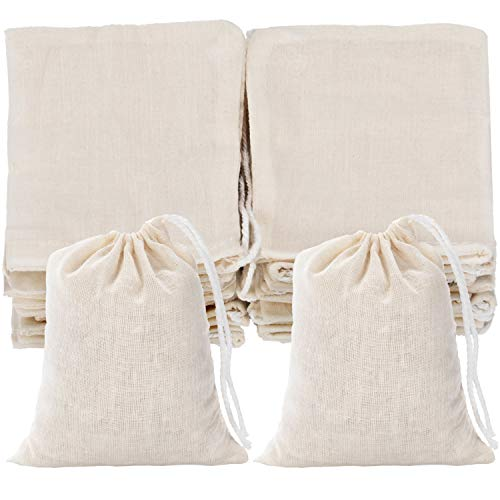 Tatuo 50 Pieces Cotton Drawstring Bags Muslin Bag Sachet Bag for Home Supplies (3 by 4 Inches)