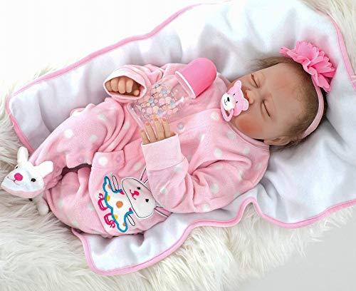 ZIYIUI Reborn 22 Pulgadas Reborn Baby Dolls Niñas Realista Suave Silicona Lindo 55 cm Niño Realista Niña Juguete Recién Nacido Bebés Reborn Muñeca Cumpleaños (Muñeca de niña Durmiente)