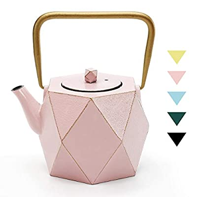 Cast Iron Teapot, TOPTIER Japanese Cast Iron Teapot with Infuser for Loose Leaf and Tea Bags, Stovetop Safe Cast Iron Tea Kettle Coated with Enameled Interior for 30 oz (900 ml), Pink