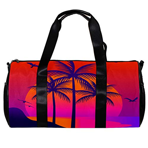 Bolsa de deporte redonda con correa de hombro desmontable para playa tropical, puesta del sol, paisaje, bolsa de entrenamiento para mujeres y hombres