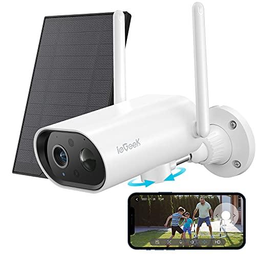 Telecamera Wi-Fi Esterno Senza Fili FHD 1080P, ieGeek 180° Pan Telecamera Solare con Batteria 10000mAh, Visione Notturna, Impermeabile IP65, Rilevazione Movimento PIR, 2 Vie Audio,Compatibile Cloud/SD