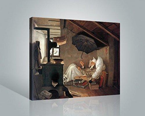 1art1 Carl Spitzweg - Der Arme Poet Bilder Leinwand-Bild Auf Keilrahmen   XXL-Wandbild Poster Kunstdruck Als Leinwandbild 50 x 40 cm