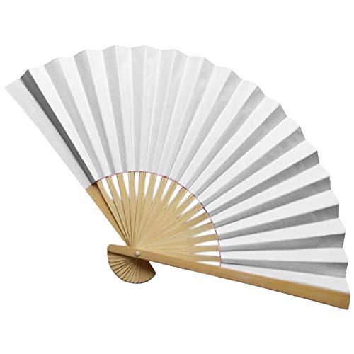 Cwemimifa Japanischer Handfächer Faltbar Seide und Bambus Chinesisches Wort Stofffächer Bambusgriff, Chinesischen Stil Hand Fan Bambus Papier Faltfächer Party Hochzeitsdekor