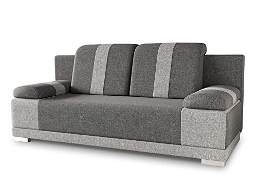 Sofa mit Schlaffunktion Imola - Schlafsofa mit Bettkasten, Couch, Bettsofa, Polstersofa, Klappsofa, Sofagarnitur (Grau (Sawana 05 + Sawana 21))