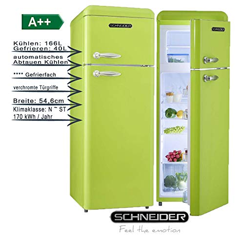 Schneider Retro Kühl-Gefrierkombination 206Liter A++ 55cm Breit SDD 208 Kühlschrank automatisches Abtauen (Apfelgrün glanz)