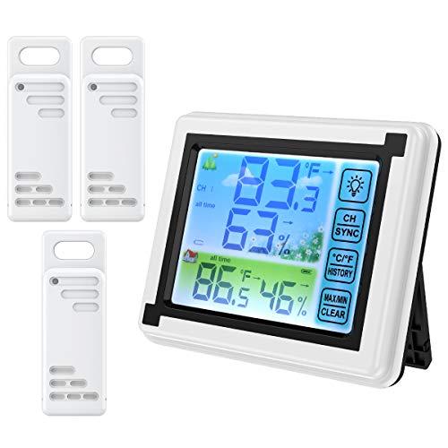 ORIA デジタル温湿度計 外気温度計 ワイヤレス 温度湿度計 置き掛け両用 室内 室外 三つセンサー 高精度 LCD大画面 タッチボタン付き バックライト機能付き 最高最低温湿度/快適レベル/温度と湿度傾向図 温室 ベッド 温度管理 健康管理 白色