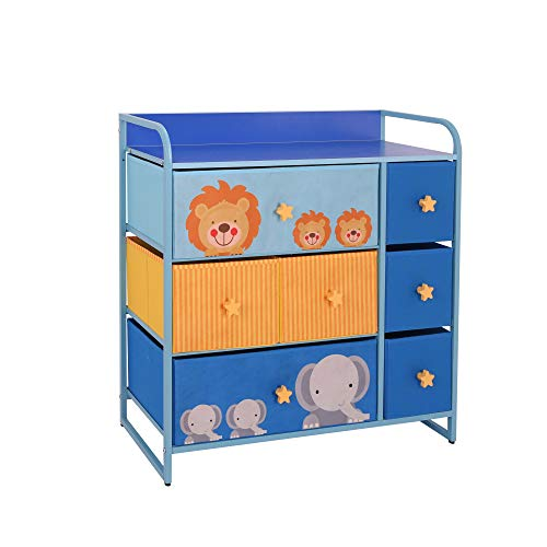 MY LUNA HOME Kids Dresser with 7 Drawers – Nursery Storage amp Organizer Furniture for Children Toddler Baby– Heavy Duty Soft amp Easy Pull Fabric Bins for Toys Clothes Playroom amp Bedroom  Blue