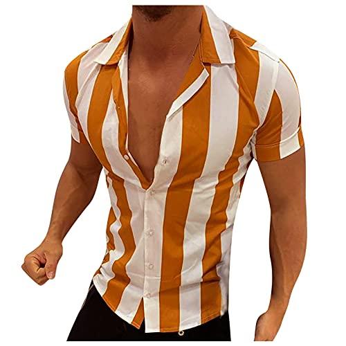 Camisa de verano de manga corta para hombre, estilo informal, a rayas, de color bloqueado, corte ajustado, básico. naranja XXXL