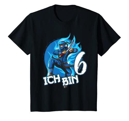 Kinder Ninja Sechster Geburtstag blauer Ninja Junge Geschenk T-Shirt