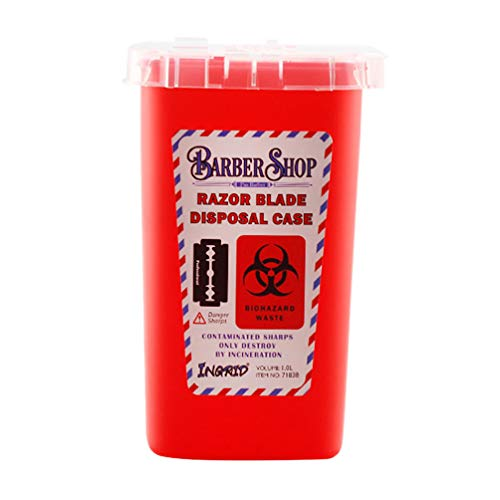 Minkissy Blade Dispenser Case Razor Blade Disposal Case Barber Shop Storage Bank Container for Used Razor Blades Red
