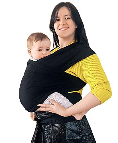 BabyChamp Babytragetuch für Neugeborene aus 95{c19f1d911e3f79caf46588dac574cd45d1c734ae28725a074f7fcf92ea0edeca} Natürlicher Bio Baumwolle in Schwarz | Elastische Kleinkindtrage (Ohne Binden)
