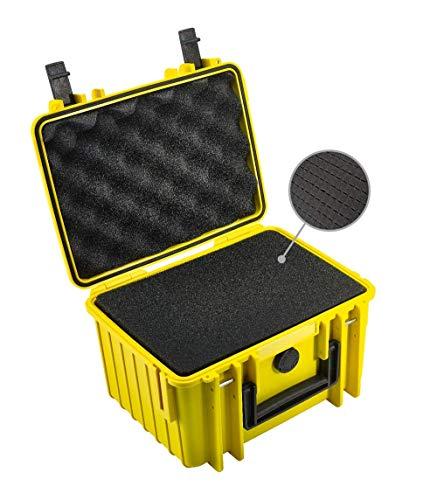 B&W Transportkoffer Outdoor Typ 2000 gelb mit Würfelschaum - wasserdicht nach IP67 Zertifizierung, staubdicht, bruchsicher und unverwüstlich
