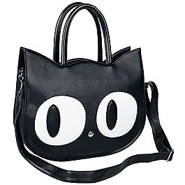 Banned Alternative Big Kitty Femme Sac à Main Noir, 100% Polyuréthane,