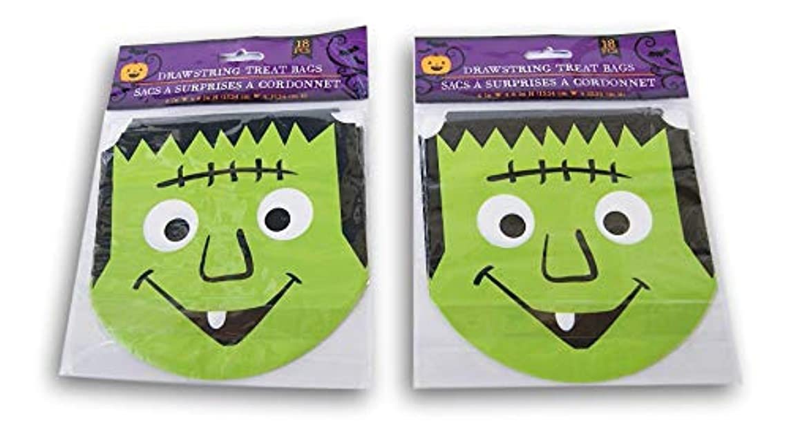 Spooky Town Halloween Themed Frankenstein Drawstring Treat Bags - 36 Count