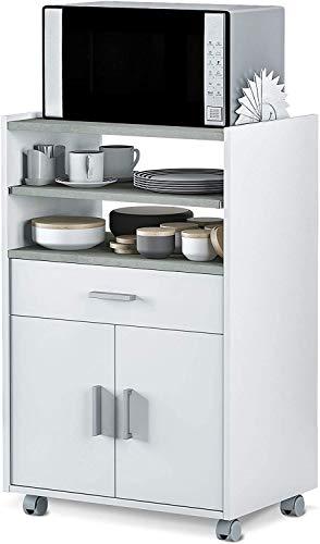 SIMMON 0L9910O - Mueble Auxiliar para microondas, Mesa Cocina con un cajón y Dos Puertas, Color Blanco y Cemento, Medidas: 92 x 59 x 40 cm de Fondo