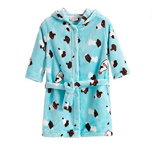 Albornoz para Niño Niñas Suave y Confortable con Capucha,Toalla de Baño Pijamas Baño Robe- Manga Larga Primavera Otoño e Invierno- Negro/Rosado/Azul/Amarillo