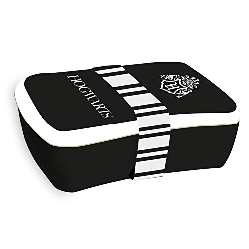 Harry Potter Brotdose Hogwarts creme/schwarz/weiß, bedruckt, mit Silikonband, 100 % Bambusfaser.