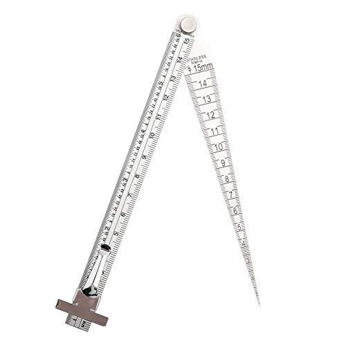Calibrador de profundidad, calibre cónico, calibre cónico de soldadura de acero inoxidable Herramienta de inspección del orificio de la regla de profundidad para medir el espacio y la profundidad