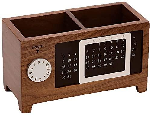 YANRUI Massivholz Multifunktionale Holzstifthalter Desktop Dekoration mit Kalender Aufbewahrungsbox Ahorn/Walnuss Skulptur Statue Figuren (Color : Walnut)