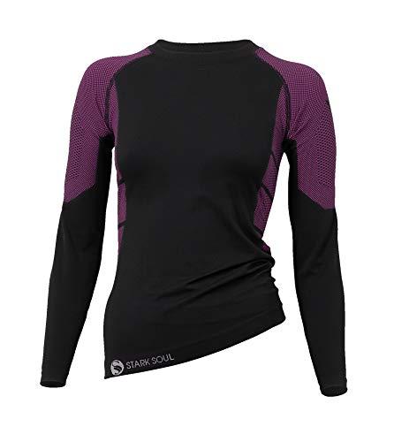 STARK SOUL sous-vêtements Techniques Microfibre pour Femme - T-Shirt Manches Longues, Noir et Rose, L/XL