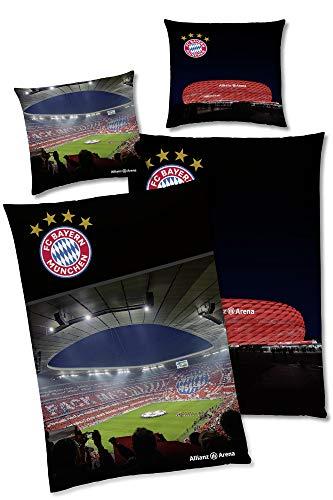 FC Bayern München Wende-Bettwäsche Allianz Arena 135 x 200 + 80 x 80 cm 100% Baumwolle Linon Fußball FCB Deutscher Rekord-Meister Mia san Mia Champions Leage deutsche Größe mit Reißverschluss