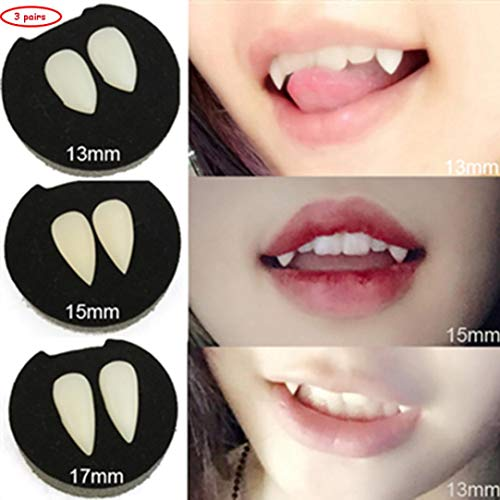 Prevently denti da vampiro Cosplay, nuovo creativo 3 coppia denti da vampiro zanne dentiere puntelli di costume di Halloween party Favors, White