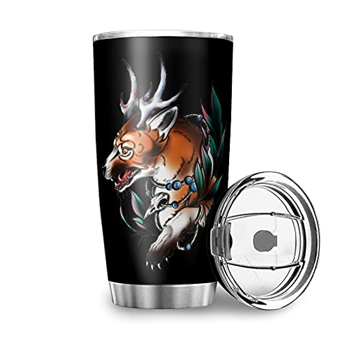 Dessionop Botella de agua Tumbler Fantasy Wolf con cuernos, impresión artística para coche, 20 onzas, antigoteo, tapa con tapa, color blanco, 600 ml